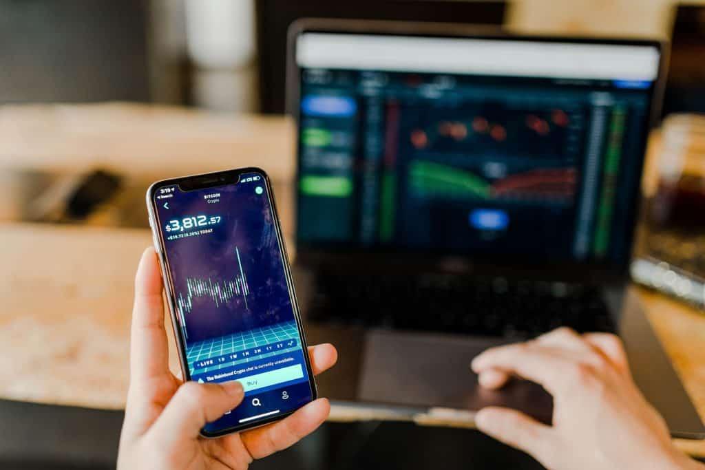 Investor checking portfolio